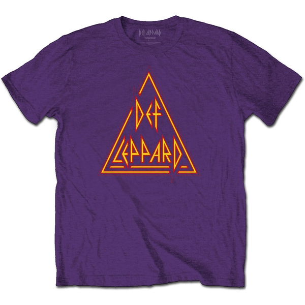 Def Leppard - Classic Triangle Logo Unisex Large T-Shirt - Purple