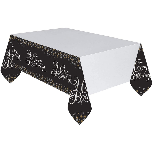 Amscan Happy Birthday Table Cover (Glittery Gold)
