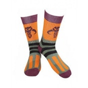 Star Wars Adult Male Bobba Fett Logo Crew Socks 39/42 (Maroon/Orange)