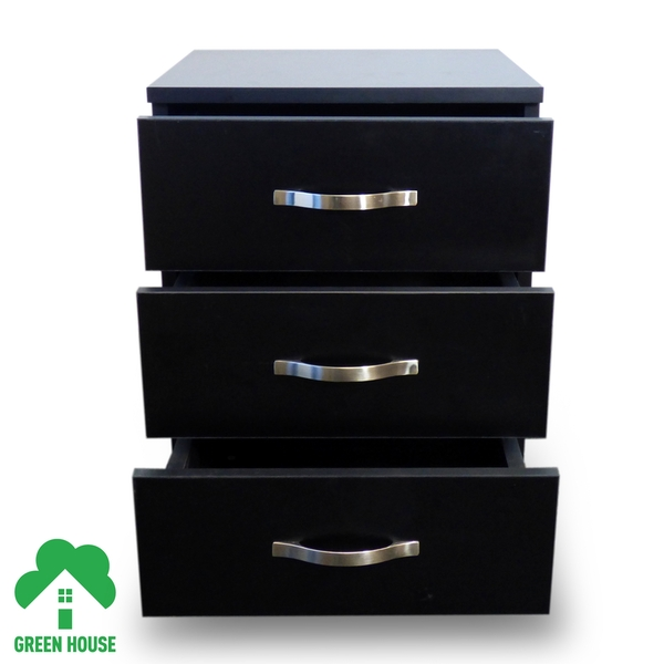 3 Chest Of Drawers Black Bedside Cabinet Dressing Table Bedroom Furniture Wooden Green House - Image 4