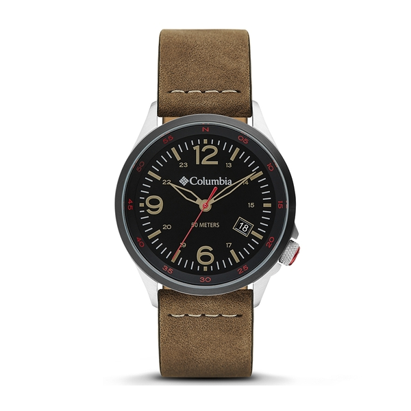 Columbia CSC02-001 Canyon Ridge Black 3-Hand Date Camel Leather Watch