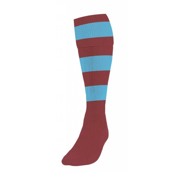 Precision Hooped Football Socks Boys Maroon/Sky