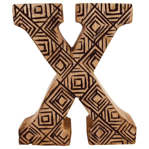 Letter X Hand Carved Wooden Geometric