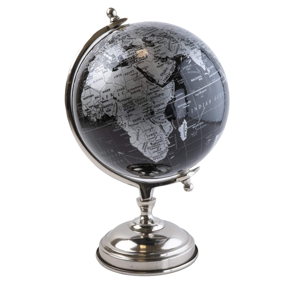 Large Globe on Metal Stand Black and Silver 32cm