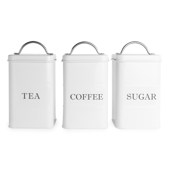 Stainless Steel Tea, Coffee & Sugar Canisters | M&W White