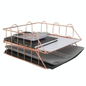A4 Wire Filing Trays in Rose Gold | M&W