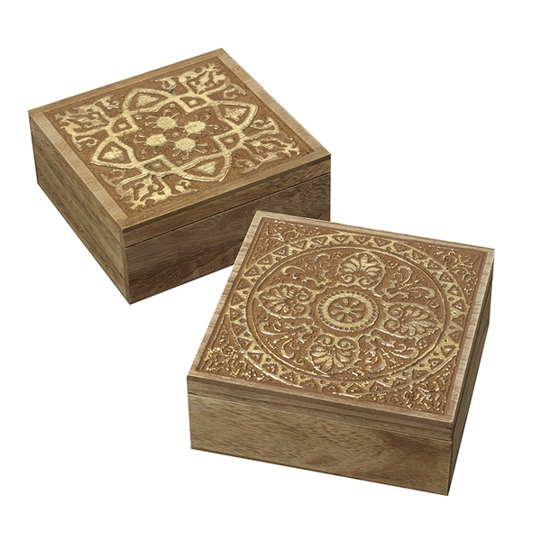 Mosaic Patterned Boxes Set of 2 By Heaven Sends