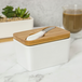 White Porcelain Butter Dish with Knife | M&W - Image 2