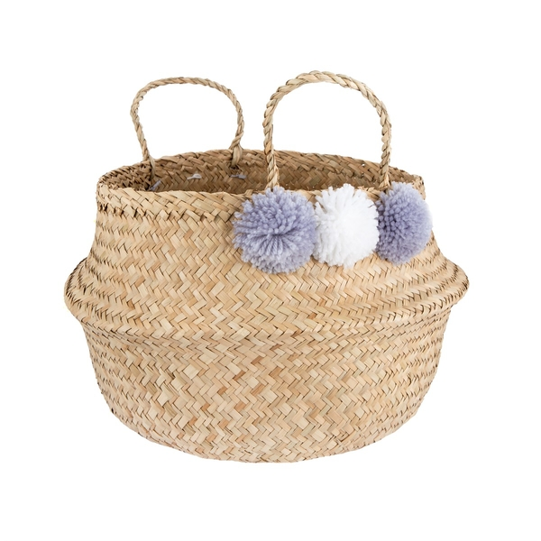 Sass & Belle Grey Pom Pom Basket