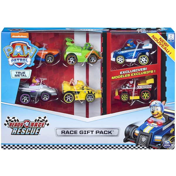 Paw Patrol - True Metal Ready Race Rescue Gift Pack of 6 Race Car Collectible Die-Cast Vehicles - 1:55 Scale