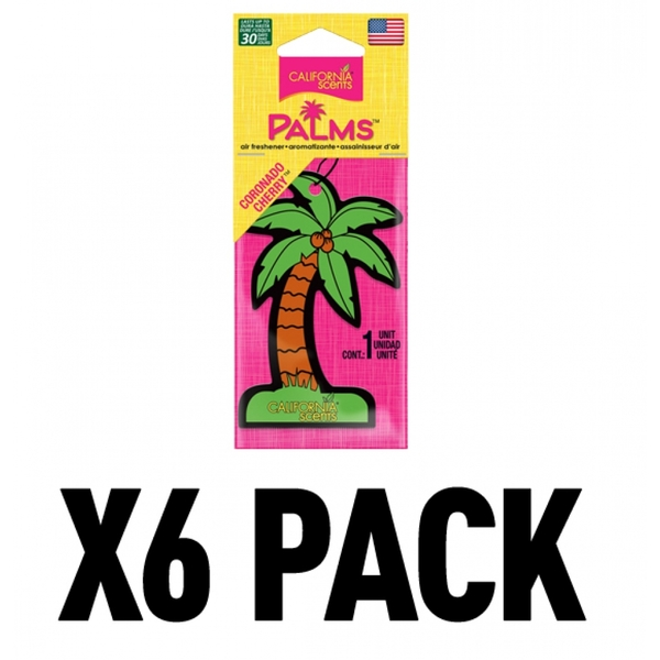 (6 Pack) California Scents Palms Hang-Outs Coronado Cherry Car/Home Air Freshener