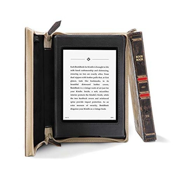 Twelve South BookBook for Kindle Paperwhite 4, 10th Gen 2019 | Distressed Hardback Full-Grain Leather Case and Viewing Easel with Auto-Wake/Sleep
