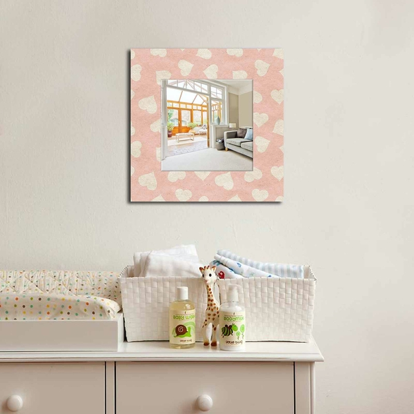 MA-12 Pink With White Hearts Decorative Mirror