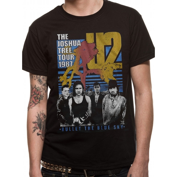 U2 - Black Bullet The Blue Sky Men's X-Large T-Shirt - Black