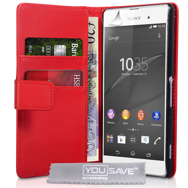 YouSave Accessories Sony Xperia Z3  Leather-Effect Wallet Case - Red
