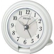 Seiko QHT014W Travel Alarm Clock with Screen Press Function White