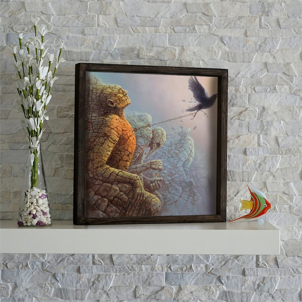 KZM481 Multicolor Decorative Framed MDF Painting