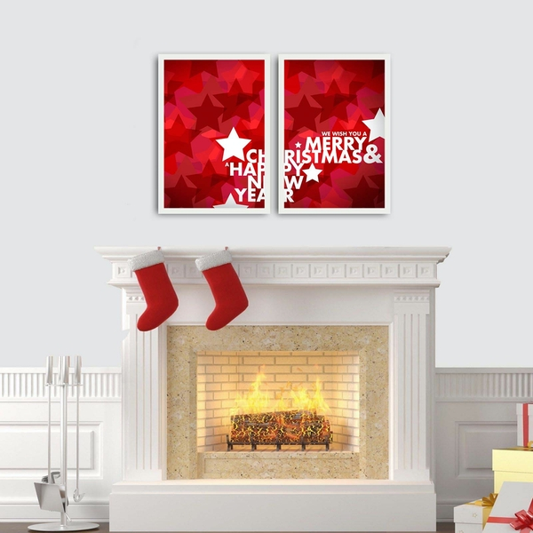 2PBCTNOEL-10 Multicolor Decorative Framed MDF Painting (2 Pieces)