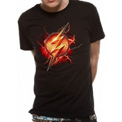 Justice League Movie - Flash Symbol Men's Medium T-Shirt - Black