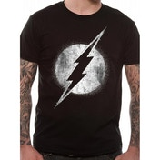 The Flash - Logo Mono Distressed Large T-Shirt - Black