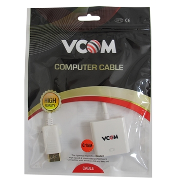 VCOM DisplayPort (M) to HDMI (F) White Retail Packaged Display Adapter