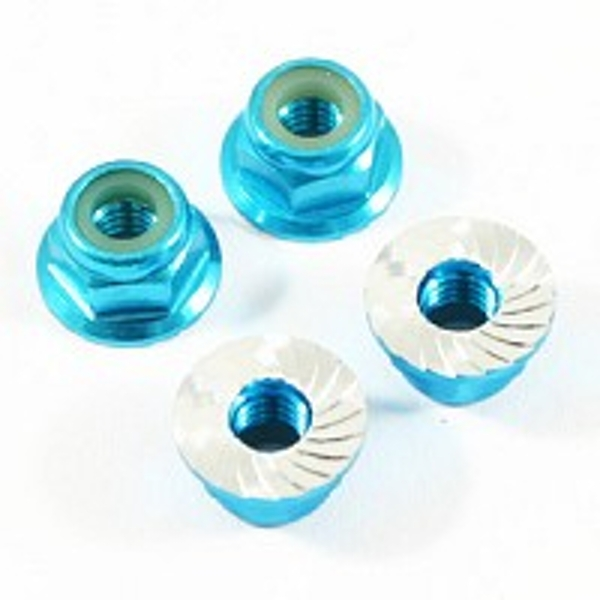 Fastrax M4 Blue Serrated Aluminium Locknuts 4Pcs