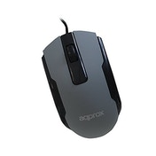 Approx Wired USB Optical Mouse, USB, 1000 DPI, Grey