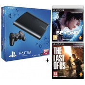 500GB SUPER SLIM Console System Black + Last of Us + Beyond Two Souls Game PS3