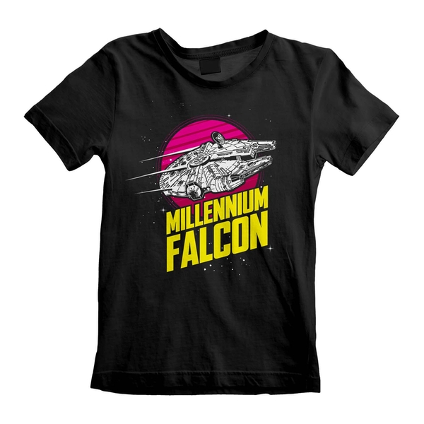 Star Wars - Millenium Falcon Circle Unisex 5-6 Years T-Shirt - Black