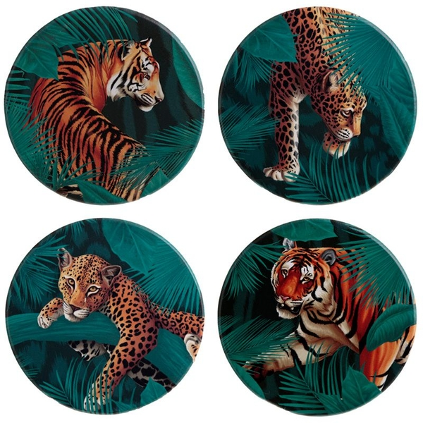 Spots and Stripes Big Cat Set of 4 Coasters