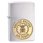 Zippo US Air Force Crest Emblem Brushed Chrome Windproof Lighter