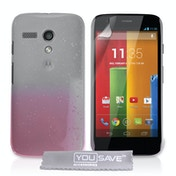 YouSave Accessories Motorola Moto G Raindrop Hard Case - Baby Pink-Clear