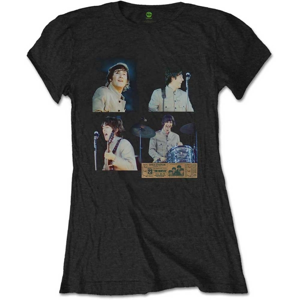 The Beatles - Shea Stadium Shots Women's X-Large T-Shirt - Black