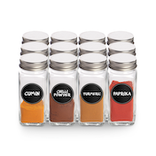 Spice Jars with Shaker Lids - Set of 12 | M&W