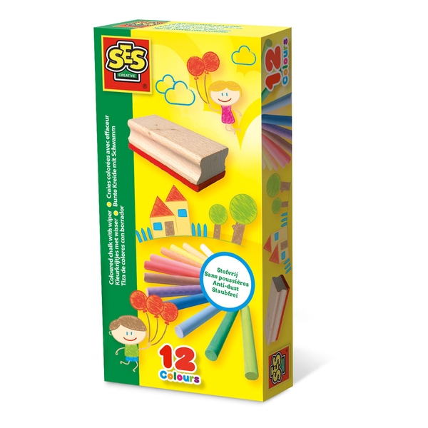 SES Creative - Children's Coloured Chalk with Wiper Set 12 Colours (Multi-colour)