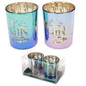 Gin Slogans Set of 2 Glass Candleholder