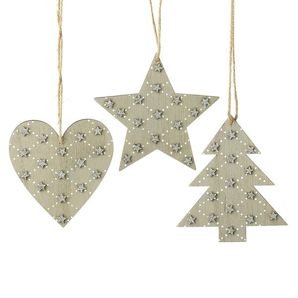 Wood Heart Star & Tree Hanging Decortaions by Heaven Sends (Set of 3)