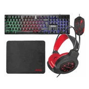 Jedel CP-01 Guardian 4-in-1 Gaming Kit - Backlit RGB Keyboard, 1000 DPI Mouse, 40mm Driver Headset, Mouse Mat