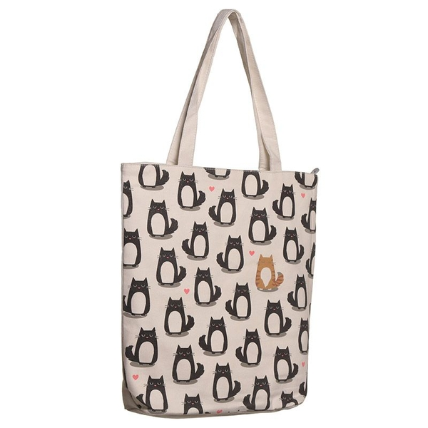 Cat Design Zip Up Shopping Bag