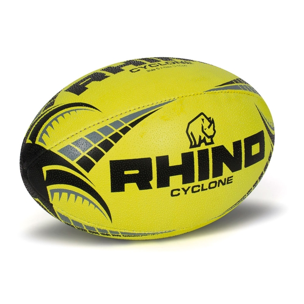 Rhino Cyclone  Rugby Ball Fluo Yellow - Size 4