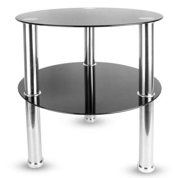 Small Round Glass 2 Tier Table | M&W Black