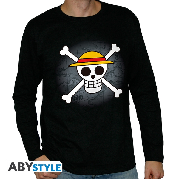 One Piece - Skull With Map Men's Small Short Sleeve T-Shirt - Black