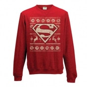 Superman Unisex Small Christmas Jumper - Red