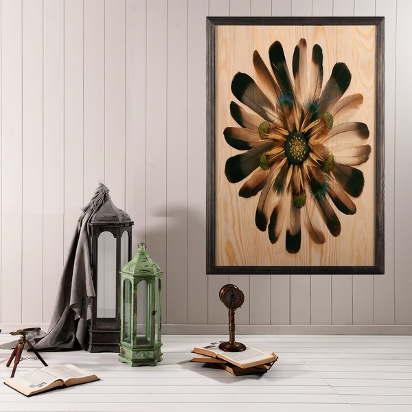 Flower XL Multicolor Decorative Framed Wooden Painting