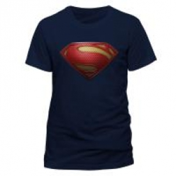 DC COMICS Superman Man of Steel Textured Logo T-Shirt, Unisex, Extra Large, Blue
