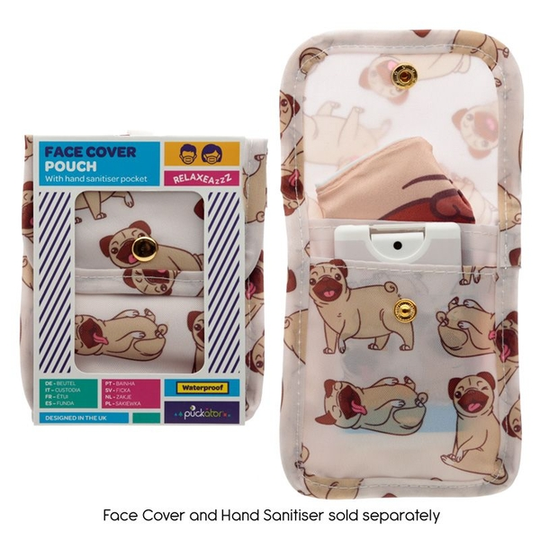 Mopps Pug Face Covering & Hand Sanitiser Pouch