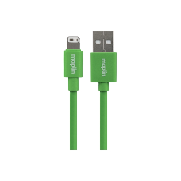 Maplin Premium Lightning Connector to USB A Male Cable 0.75m Green