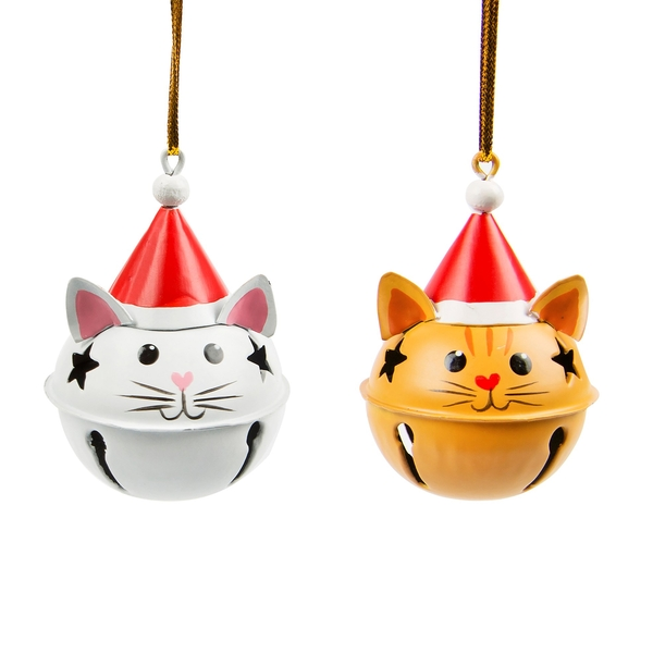 Sass & Belle Festive Cat Hanging Bell Decoration (One Random Supplied)