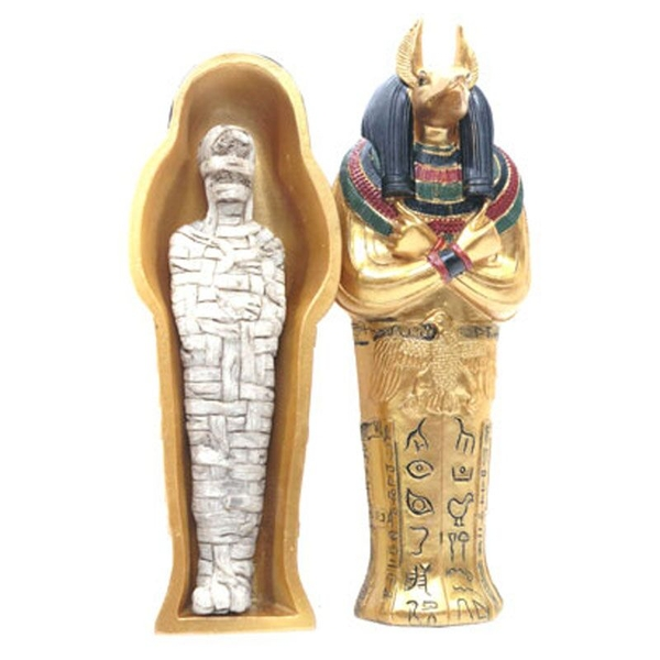 Gold Egyptian Anubis Sarcophagus Trinket Box with Mummy