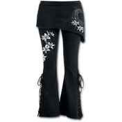 Pure of Heart Women's Large 2In1 Boot-Cut Leggings With Micro Slant Skirt - Black